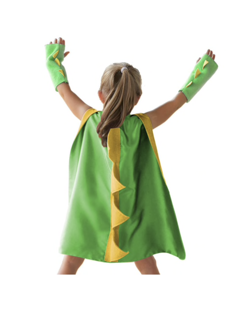 Dinosaur/Dragon Green Cape + Gloves, One Size