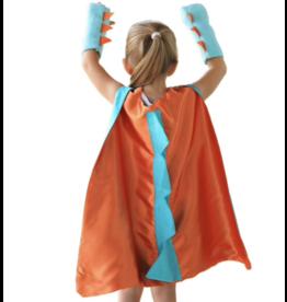 Dinosaur/Dragon Orange Cape + Gloves, One Size