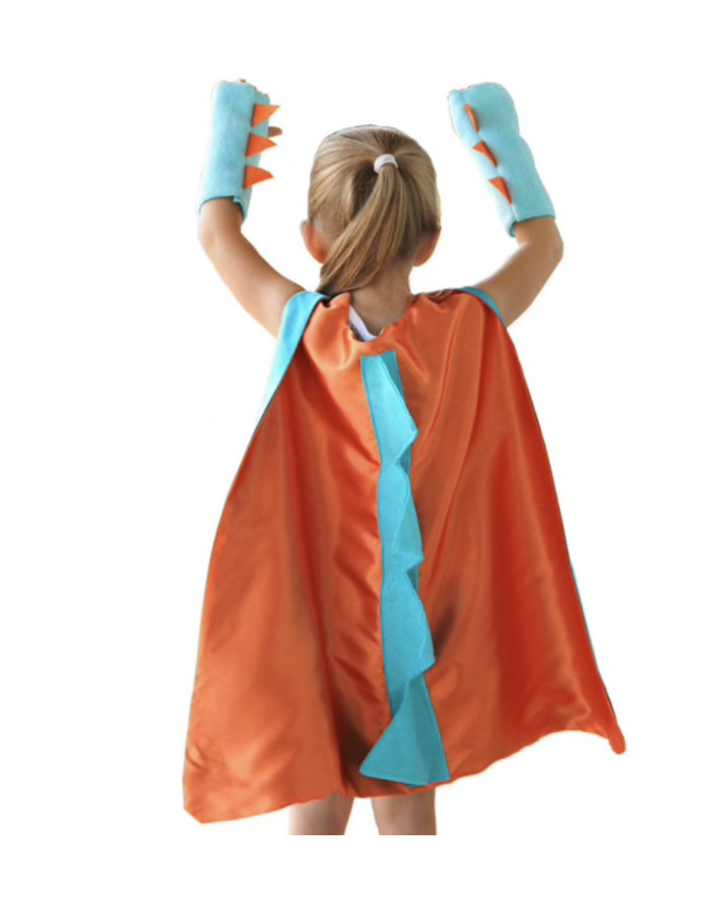 Dinosaur/Dragon Orange Cape + Gloves, One Size
