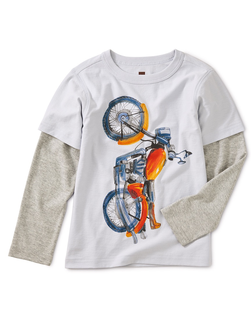 Tea Collection Vertical Moto Graphic Layered Tee