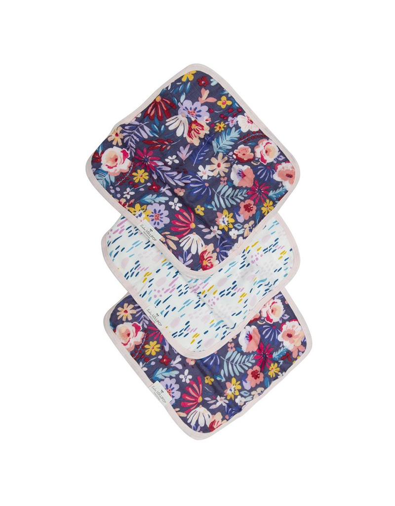 Loulou Lollipop Dark Field Flowers Washcloth 3pk