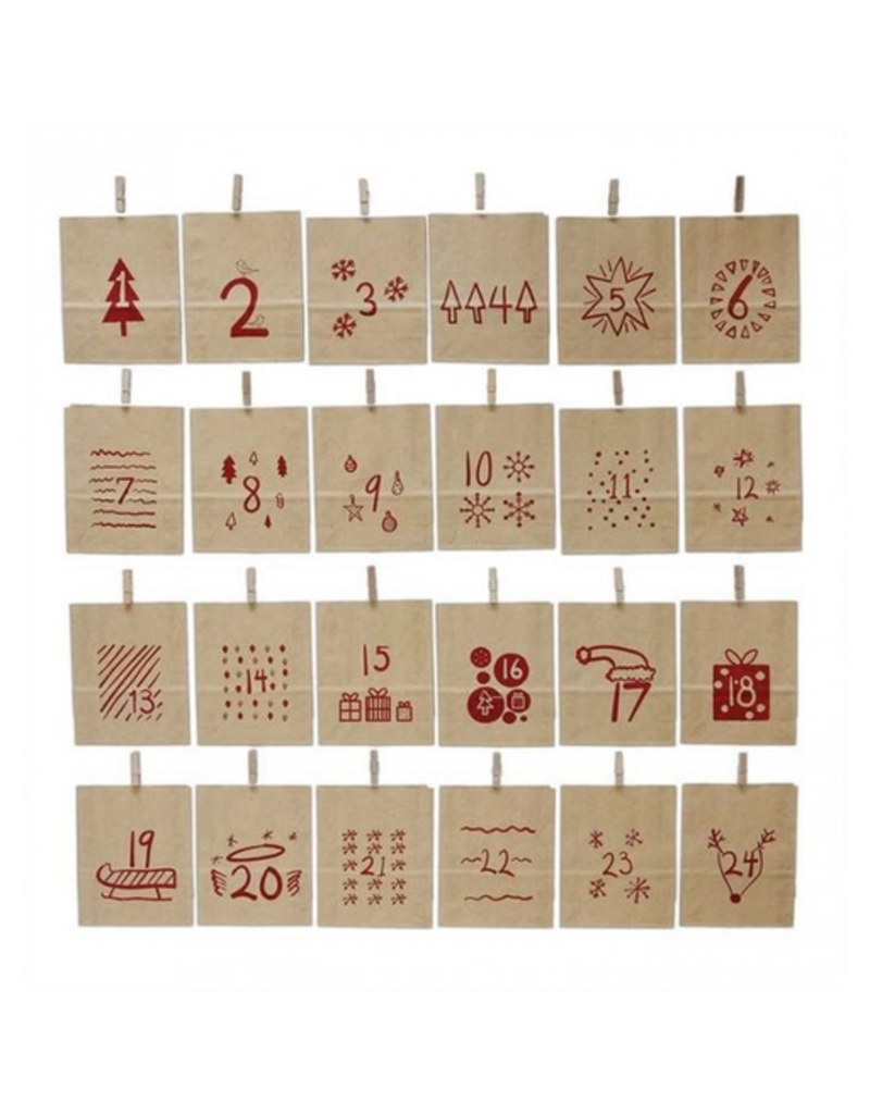 Paper Christmas Advent Paper Bags w/ Clip, Set of 24
