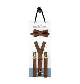 Sweet N Swag Walnut Bow Tie Set, 0-5Y
