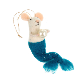 Mermaid Mouse Ornament, Teal