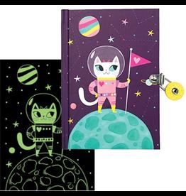 Mudpuppy Space Cat Glow-in-the-Dark Locked Diary