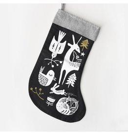 Wee Gallery Winter Animals Stocking - White on Black