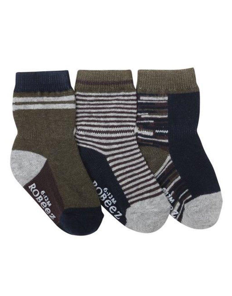 Robeez Shoes Boy's Sock 3pk - Athletic Heather