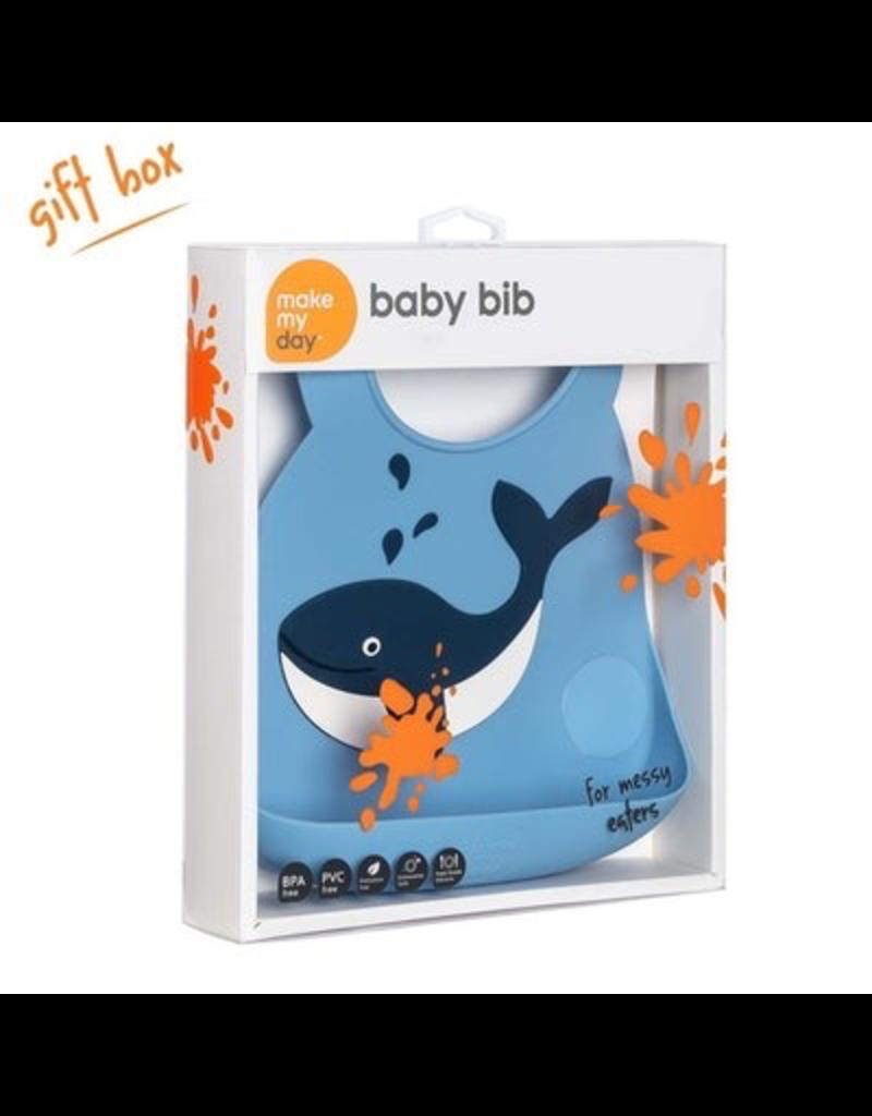 Make My Day Silicone Bib, Whale