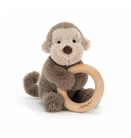 Jellycat Shooshu Monkey Wooden Ring Rattle