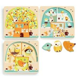 Djeco 3 Layers Puzzle - Chez-Nut - 12pc