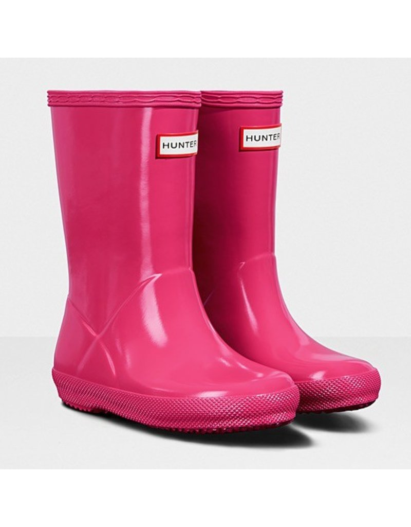 Hunter Boots Kid's First Hunter Gloss Boots Bright Pink