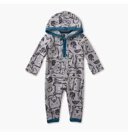 Tea Collection Hungry Bears Hoodie Romper