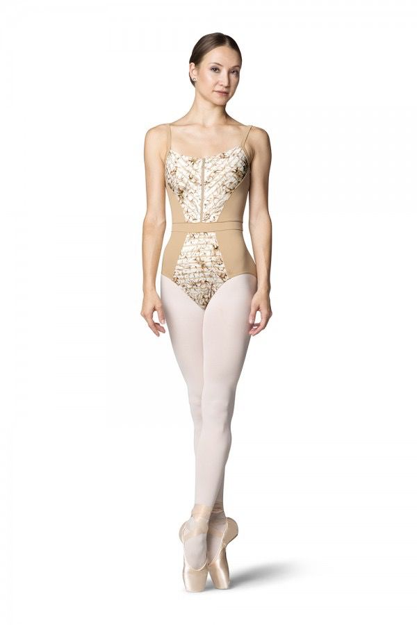 BLOCH & MIRELLA L9817 ADELA ZIPPER FRONT PRINTED LILY STRIPE MESH PANELED CAMISOLE LEOTARD