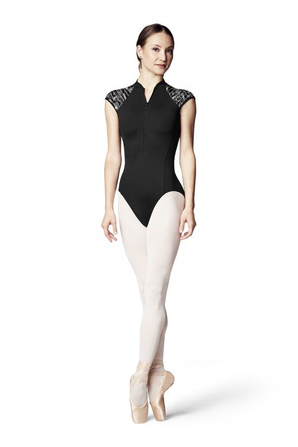 BLOCH & MIRELLA L9942 CAROLEIN ZIPPER FRONT PRINTED LILY STRIPE MESH OPEN BACK CAP SLEEVE LEOTARD