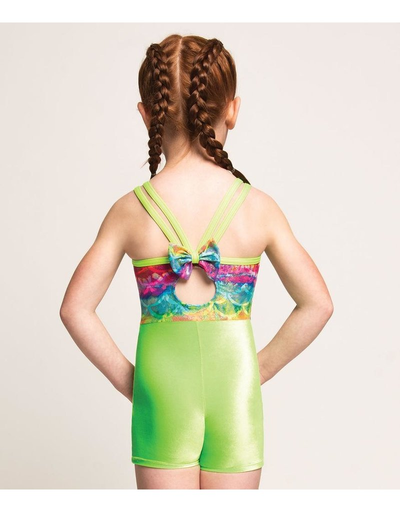 MOTIONWEAR 1213 RAINBOW CRAZE GYM 4-STRAP CAMI BOW BACK BIKETARD