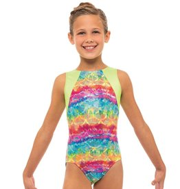 MOTIONWEAR 1453 RAINBOW CRAZE GYM CLOVERLEAF LEOTARD