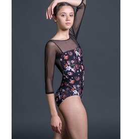 SUFFOLK 2207 FLORAL 3/4 SLEEVE LEOTARD