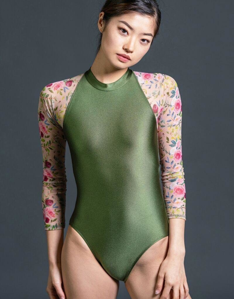 SUFFOLK 2178 FADEAWAY MOCK TURTLE NECK 3/4 SLEEVE LEOTARD