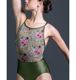 SUFFOLK 2172 CAMISOLE LEOTARD WITH FLORAL MESH