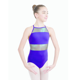 CAPEZIO & BUNHEADS A11547T LUNAR HIGH NECK IRIDESCENT MESH CROSS BACK LEOTARD