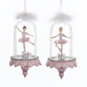 KURT S. ADLER BALLERINA IN GLASS DOME FINIAL ORNAMENT