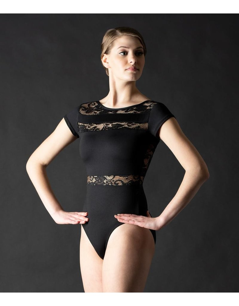 MOTIONWEAR 2083 CAP SLEEVE LEOTARD WITH LACE WAIST