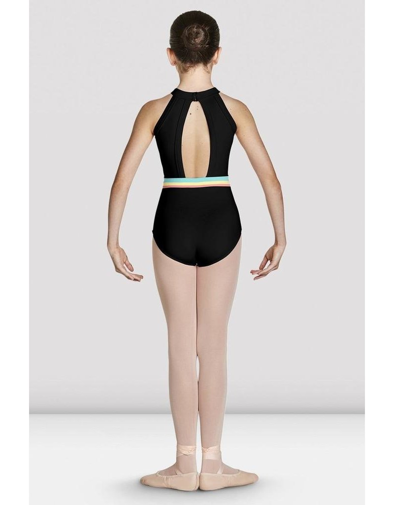 BLOCH & MIRELLA CL7845 STRIPE WAISTBAND HALTER LEOTARD