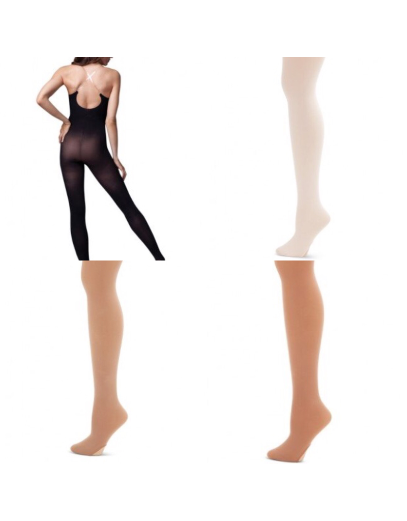 CAPEZIO & BUNHEADS A1811 ADULT BODYTIGHT WITH CLEAR STRAP