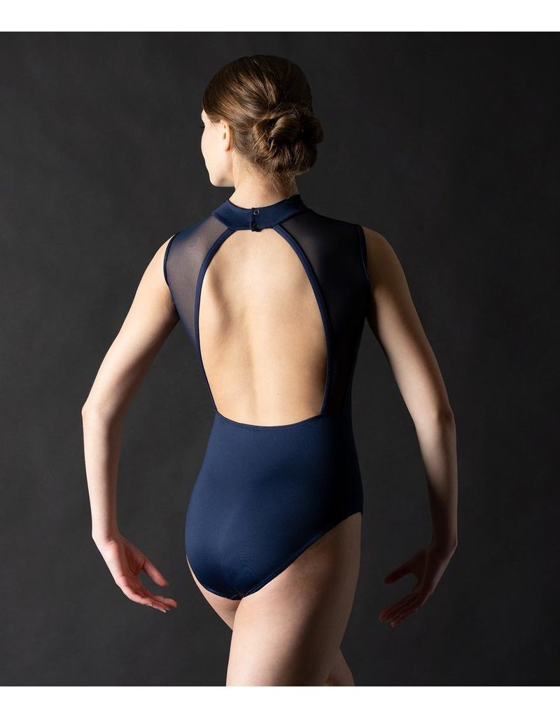 MOTIONWEAR 2171 ADULT ARLO V-FRONT BOUND MOCK NECK OPEN BACK LEOTARD WITH MESH INSERTS