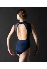MOTIONWEAR 2171 ARLO CHILD V-FRONT BOUND MOCK NECK OPEN BACK LEOTARD WITH MESH INSERTS