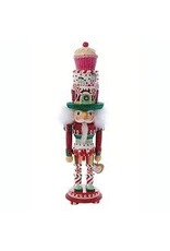 KURT S. ADLER HA0307 HOLLYWOOD CUPCAKE CAKE LOLLIPOP PEPPERMINT NUTCRACKER ON PEDASTAL