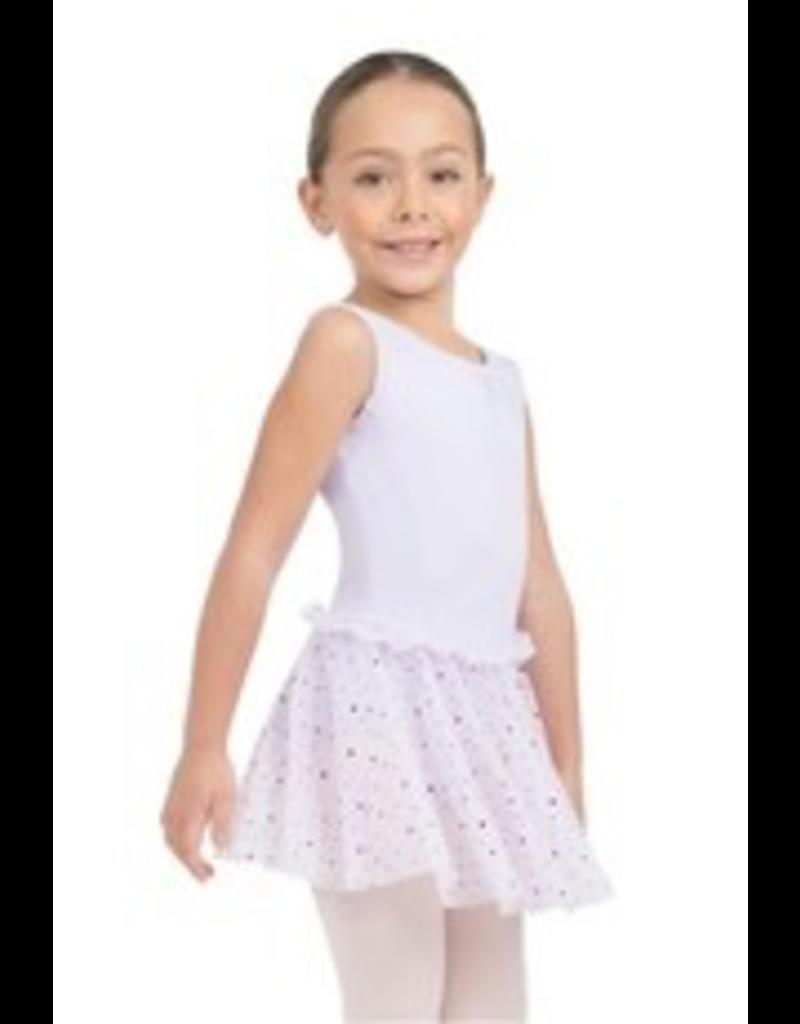 CAPEZIO & BUNHEADS A11532C GLITTER ROSE ROSETTE TRIM PINCH FRONT TANK DRESS