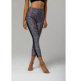 ONZIE 2061 HIGH WAISTED NET SIDE STRIPE MIDI LEGGING