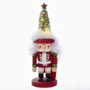 KURT S. ADLER HA0374 HOLLYWOOD GLITTERY LED LIGHT UP TREE HEAD NUTCRACKER