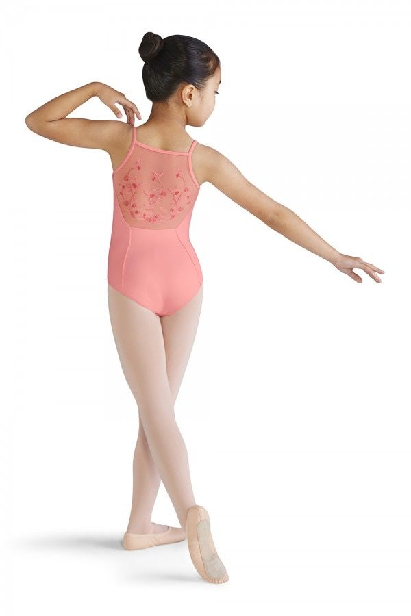 BLOCH & MIRELLA M1209C DELICATE BLOSSOM EMBROIDERED MESH BACK CAMISOLE LEOTARD
