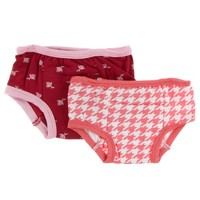KICKEE PANTS TRAINING PANTS SET IN CANDY APPLE ROSE BUD & ENGLISH ROSE HOUNDSTOOTH