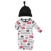 KICKEE PANTS PRINT LAYETTE GOWN & SINGLE KNOT HAT SET IN LONDON TRANSPORT