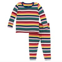 KICKEE PANTS PRINT LONG SLEEVE PAJAMA SET IN BRIGHT LONDON STRIPE