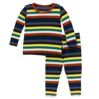 KICKEE PANTS KICKEE PANTS PRINT LONG SLEEVE PAJAMA SET IN DARK LONDON STRIPE