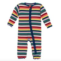 KICKEE PANTS PRINT MUFFIN RUFFLE COVERALL WITH ZIPPER IN BRIGHT LONDON STRIPES