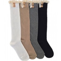 JEFFERIES SOCKS LACE & BUTTONS BOOT KNEE HIGH SOCKS