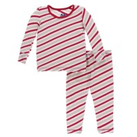 KICKEE PANTS HOLIDAY LONG SLEEVE PAJAMA SET IN ROSE GOLD CANDY CANE STRIPE