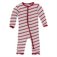 HOLIDAY PRINT RUFFLE COVERALL WITH ZIPPER IN CANDY CANE STRIPE 044f7c921e79