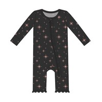 KICKEE PANTS HOLIDAY PRINT RUFFLE COVERALL WITH ZIPPER IN GOLD STAR