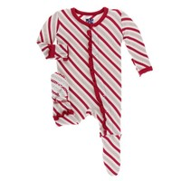 KICKEE PANTS HOLIDAY CLASSIC RUFFLE FOOTIE WITH SNAPS IN CANDY CANE STRIPE