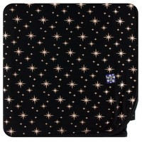 KICKEE PANTS HOLIDAY SWADDLING BLANKET IN ROSE GOLD BRIGHT STARS