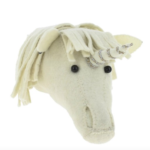 FIONA WALKER FIONA WALKER ENGLAND MINI UNICORN WITH SILVER AND GOLD TRIM WALL MOUNT