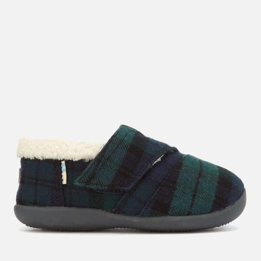 TOMS SHOES SPRUCE PLAID FELT TINY TOMS SLIPPER