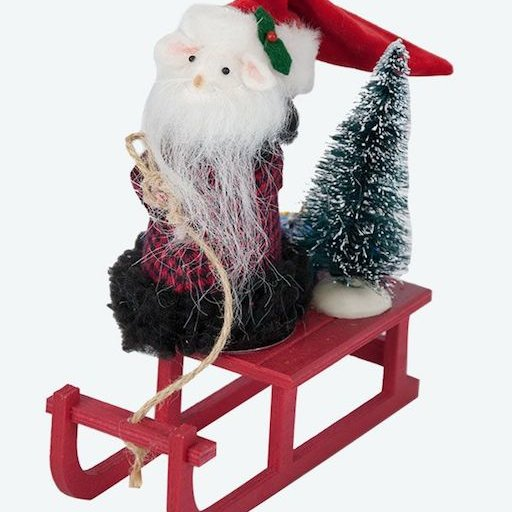 BYERS' CHOICE SANTA MOUSE ON A SLED