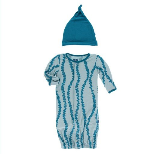 KICKEE PANTS PRINT LAYETTE GOWN CONVERTER & KNOT HAT SET IN JADE SEA GRAPES